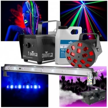 Jam Pack Diamond Party Lighting Set LED Mushroom UV Strobe & Fog Machine