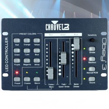Obey 3 Channel Compact DMX RGB Controller Fade Speed Strobe and Dimmer