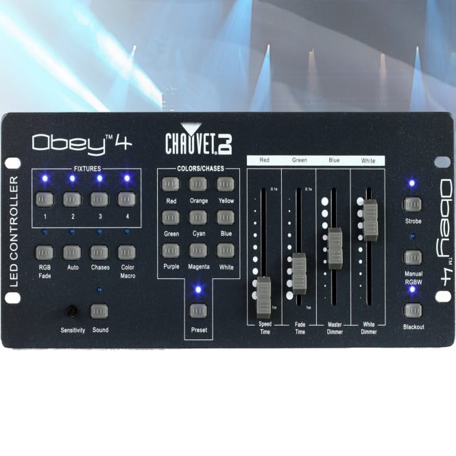 obey 4 compact dmx rgbw controller fade speed strobe and dimmer. Black Bedroom Furniture Sets. Home Design Ideas