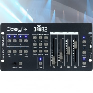 Obey 4 Channel Compact DMX RGBW/A Controller Fade Speed Strobe and Dimmer