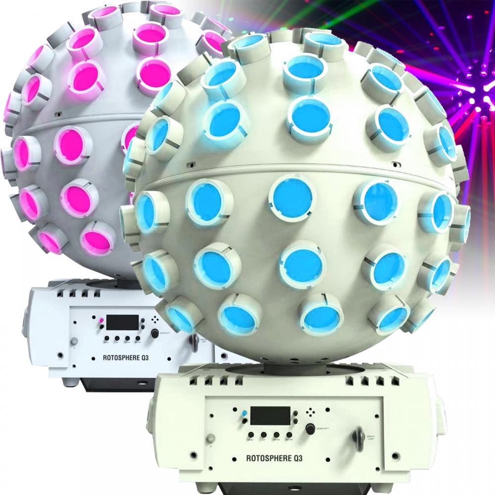 Pair Of White Chauvet Rotosphere Q3 Sphere LED Lighting Effect
