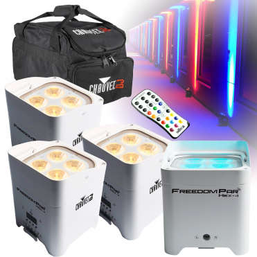 White Freedom Par Hex 4 LED Uplighter Battery Powered Wireless DMX Package