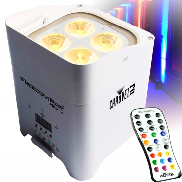 White Freedom Par Hex 4 LED Uplighter Battery Powered Wireless DMX + Remote