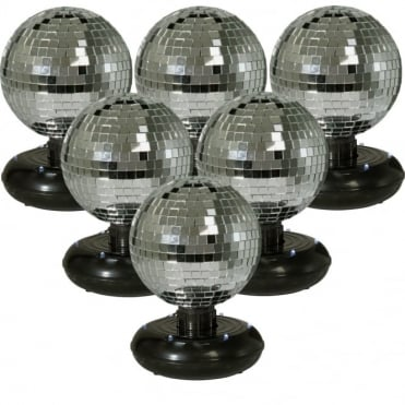 "Set of 6 Free Standing Rotating Mirror Ball with Built-In LED's - 6"" Silver"