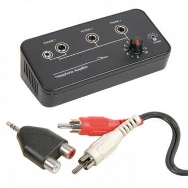 Portable Compact Desk Top 3 Channel Headphone Amplifier Splitter