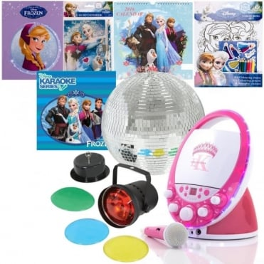 EKR1588 Frozen CD+G Karaoke Machine Package inc 30cm Mirror Ball Kit