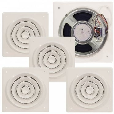 4 x 4W 100V Line Flush Fit Square Ceiling Speaker Retro Style