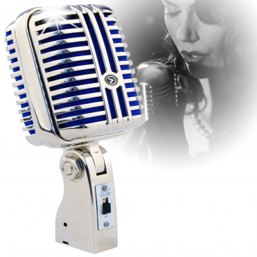 50s Style Retro Chrome Dynamic Microphone Vintage Professional Jazz Club - Blue