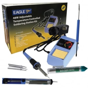 6-in-1 Electric Soldering Iron Kit 48w Adj Temperature inc Solder & Tips