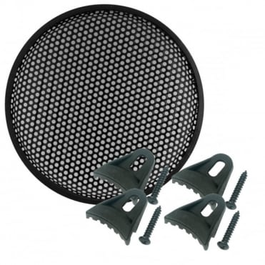 "Black Metal Mesh Round Hole Waffle Speaker Grille 15"" inc Clamps"