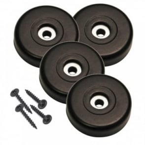 Black Rubber Feet with Integral Steel Wash inc Fixing Screws - Set of 4