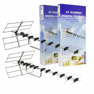 Digital Wide Band TV Aerial HD / Freeview Ready 44 & 52 Element inc Wireing Kit