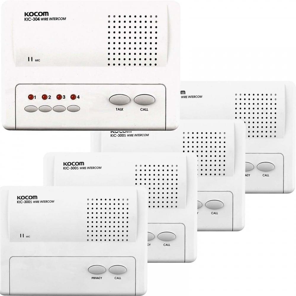 Kocom KIC Master to Slave 5-Way Intercom System 1 to 4 Stations on