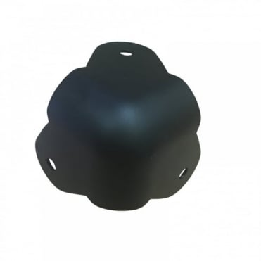 Matt Black Metal Ball Corner with 3 Mounting Legs - Power Coated