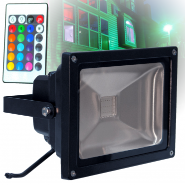 Outdoor IP65 Colour Wash Flood Light RGB Inc Remote For Garden Home