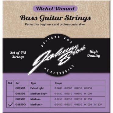 Set of 5 High Quality Nickel Wound Bass Guitar Strings for 5 String Bass Guitars