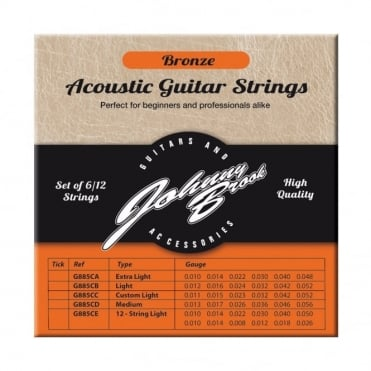 Set of 6 or 12 High Quality Bronze Acoustic Guitar Strings