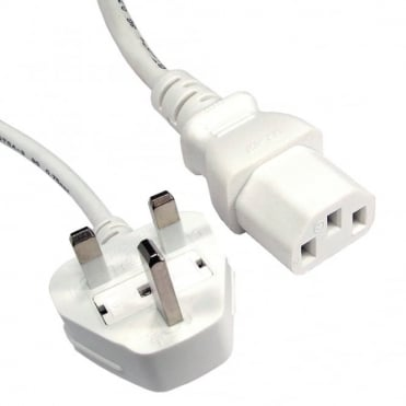 White IEC (C13) to UK Mains Plug 2M Kettle Lead CE Approved