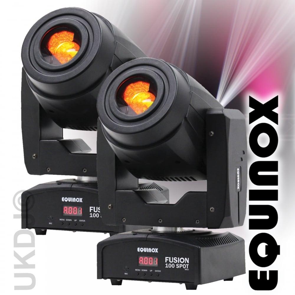 2 Black Fusion Spot 100 80w LED Lighting FX DMX Moving Head 3 Facet Prism