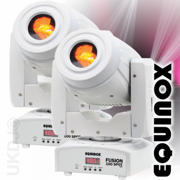 2 White Fusion Spot 100 80w LED Lighting FX DMX Moving Head 3 Facet Prism