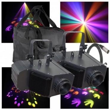 2 x Power Flower 20W COB LED Moonflower Light Effect Package inc Bag & Lead