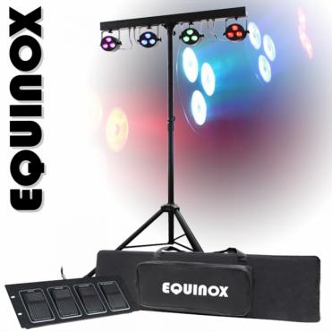 Microbar Quad LED Lighting Par Can DJ Set inc Light Stand & Controller