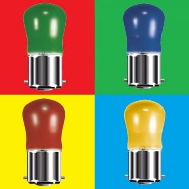 Pygmy Lamps 230v 25w & 15w Red Green Yellow Blue BC Bayonet B22D