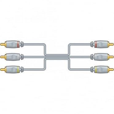 HQ AV Triple Lead 3 x RCA Phono to 3 x RCA Phono Plugs OFC 1.5M 3M & 5M