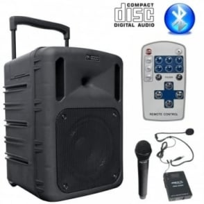 300W Portable PA System Handheld Headset UHF Mics with CD Player USB SD & Bluetooth