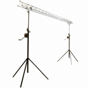 Light 4m 2x2m Lightbridge Mini Truss with 1.5m - 3m Winch / Wind Up Stand