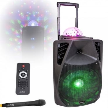 Portable Sound & Light System 15''/38cm - 800w With USB, Bluetooth, FM & VHF Mic