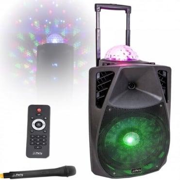 Portable Sound & Light System 15''/38cm - 800w With USB, Bluetooth, FM & VHF Mic