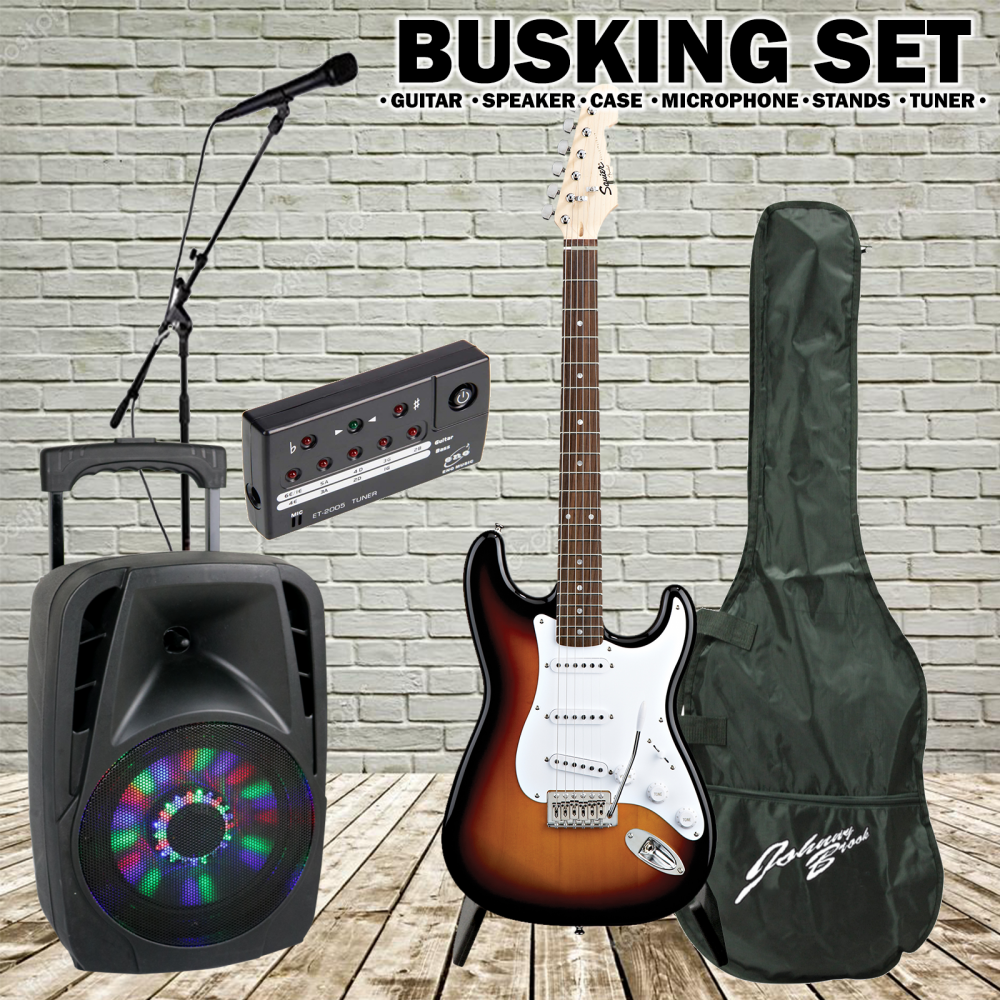 sunburst electric guitar with tuner kit inc 300w speaker mic stands. Black Bedroom Furniture Sets. Home Design Ideas