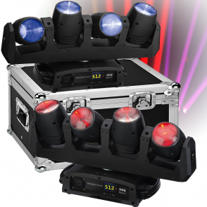 IMG Stage Line 2 x CENTER-4/RGBW 4 x 12W LED Moving Head Bar inc Flight Case