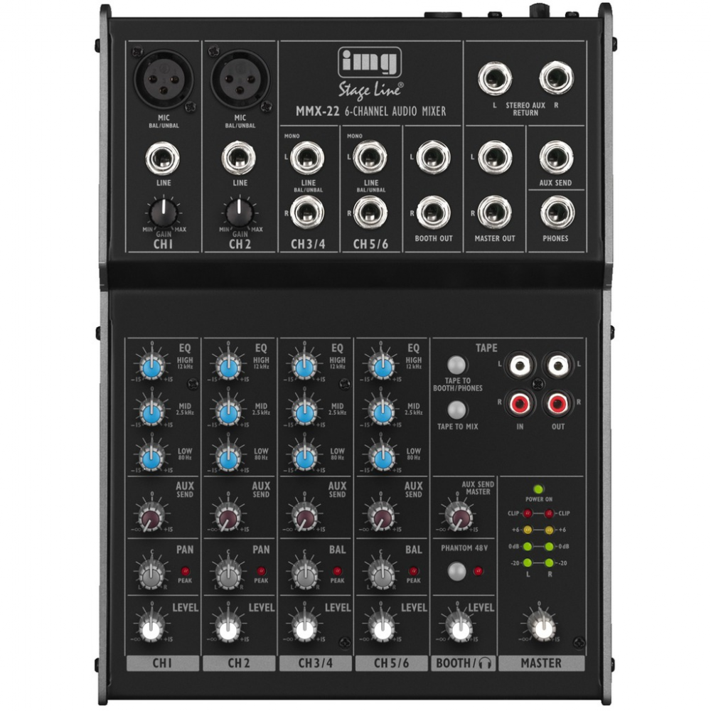mmx 22 6 channel compact audio mixer 2 bus with 3 band eq per channel. Black Bedroom Furniture Sets. Home Design Ideas