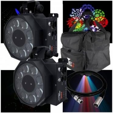 2 x Gobostar 3w LED Sweeping Gobo Effect & 130mW Star Cluster Laser inc Case