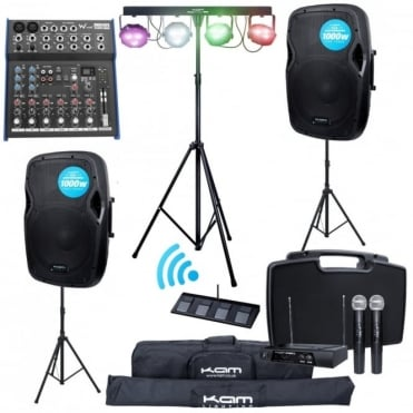 "2000w PA Package 12"" Speakers FX Mixer Radio Mic Stands Stage Lighting Bands"