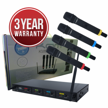 KWM Quartet 4 x UHF USB Rechargable Wireless Microphone system
