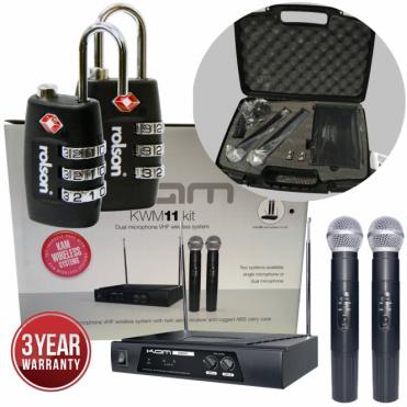 KWM11 VHF Radio Microphone System Twin HandHeld Wireless System inc Locks