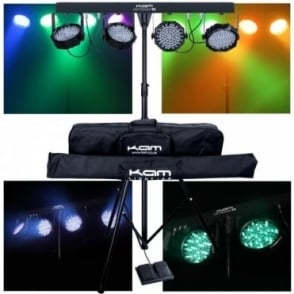 Kam LED Partybar V2 4 Mounted LED Par Can on a Lighting Stand & Foot Controller