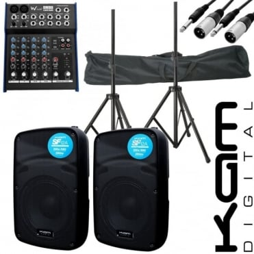 "SF 12A 12"" DJ Active 4000W PA Club Stereo Speaker Stand Mixer Pack"