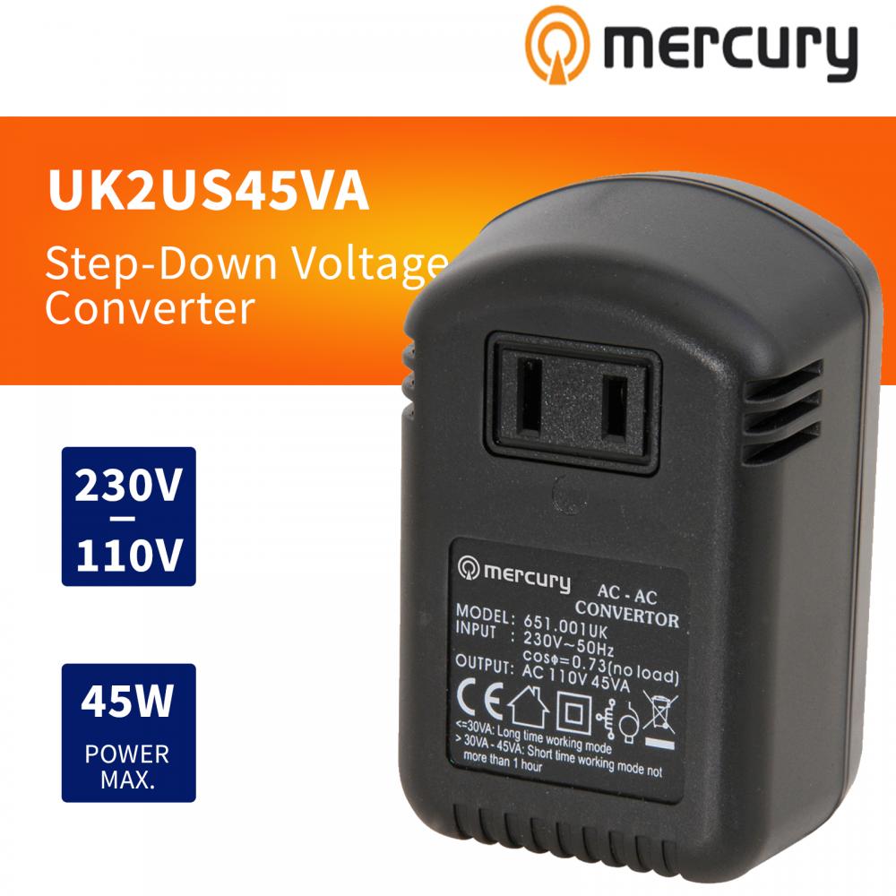 45W UK to US Stepdown Voltage Converter / Transformer USA 110V