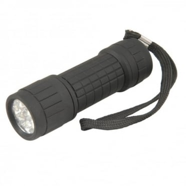 9 ultra-bright white LEDs Rubberised Torch LED 100000Hrs