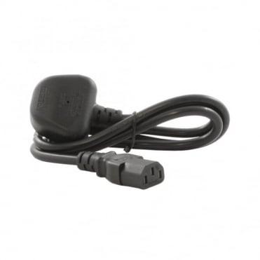 Black IEC Mains Lead 3-pin UK Plug to 10A IEC connector 1.0M