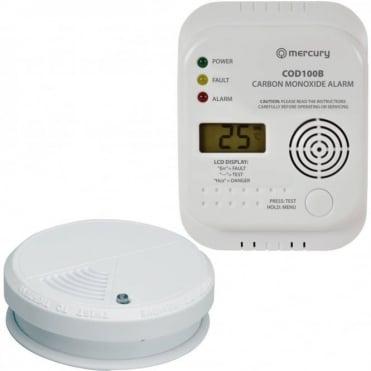 Carbon Monoxide & Smoke Alarm Detector Set UK Approved Home Safety Set