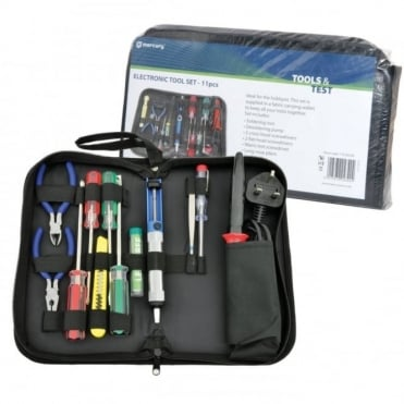 Electronic Tool Set 11pcs - 30W Soldering Iron and Accessories Inc Case