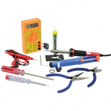 Electronic Tool Set 12pcs - 30W Soldering Iron Multi Tester and Accessories