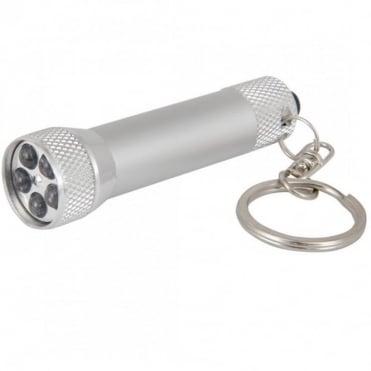Miniature 5 LED Keyring Torch Chrome & Satin Aluminium 100000Hrs