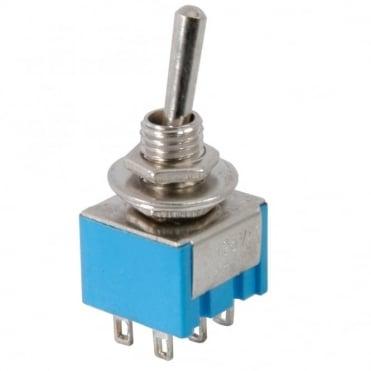 Miniature Toggle Switch, 2 x on off on - 11.5 x 12.5mm - 3A 250Vac / 6A 125Vac