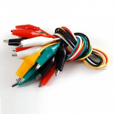 Set of 10 Test Leads Coloured with 25mm Crocodile Clips